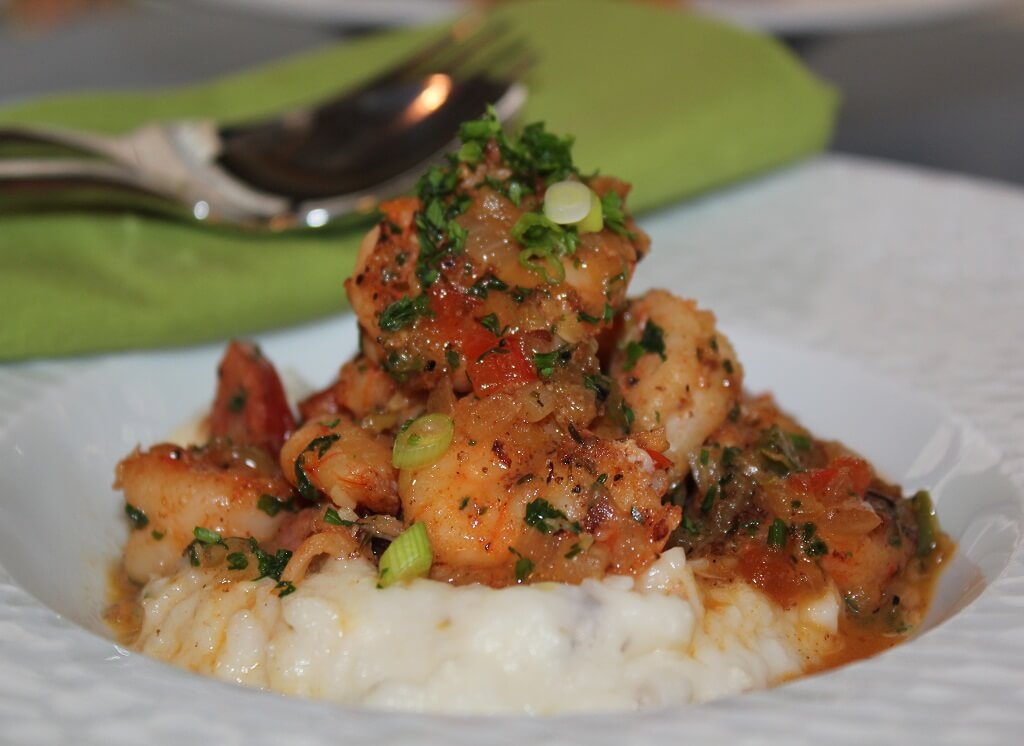 Southern Recipes Spicy Shrimp and Andouille Over Charleston-Style Grits